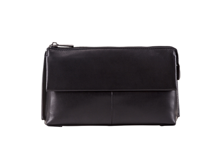 Modern handbag black color on white background, fashion and accessory concept