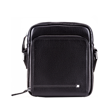 Men bag black color on white background, fashion and accessory concept.