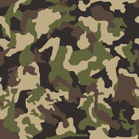Ilustracja wektorowa bezszwowe tło wzór kamuflażu. Klasyczny nadruk w stylu maskującym moro. Zielony brązowy czarny oliwkowy kolory tekstury lasu