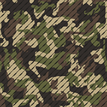 Seamless camouflage pattern with lines. Khaki texture, vector illustration. Camo print background. Abstract military style backdrop