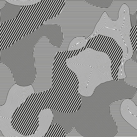 Urban camouflage seamless pattern. Curve line texture. Black, gray and white color. Pattern for cloth Ilustrace