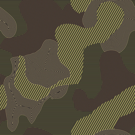Seamless green and brown striped camo textile pattern vector. Modern fashion fabric texture background. Ilustrace