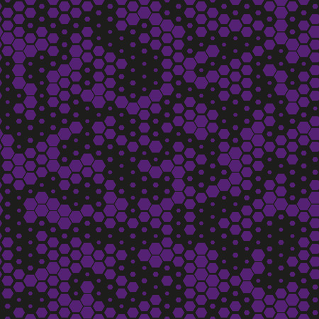 Military camouflage seamless pattern, purple monochrome. Vector. Digital abstract geometric modern texture. Fashion hexagonal black and purple camouflage pattern. Vetores