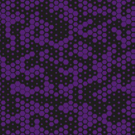 Patrón transparente de camuflaje militar, monocromo púrpura. Vector. Textura moderna geométrica abstracta digital. Patrón de camuflaje negro y morado hexagonal de moda. Ilustración de vector