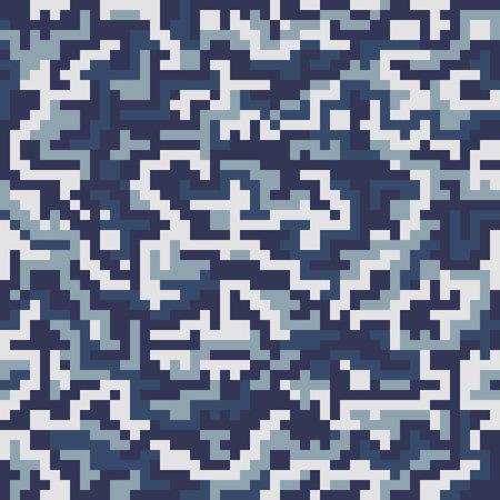 Reticolo senza giunte del camuffamento quadrato militare di vettore. L'illustrazione vettoriale può essere utilizzata per carta da parati, riempimenti a motivo, sfondo della pagina web, stampa su tessuto o carta da imballaggio. Combinazione di colori blu marino