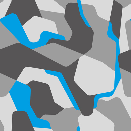 Modern abstract geometric camouflage seamless pattern. Camo with different gray tones and blue shape elements background.