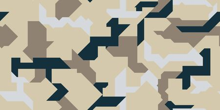 Pattern of Geometric Shapes for Army Clothing, weapon or vechicles. Seamless abstract vector sand military camouflage background. Seamless pattern fot car decal wrap design vector.