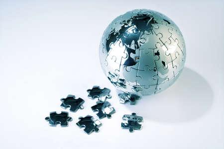 Puzzel wereld op een witte