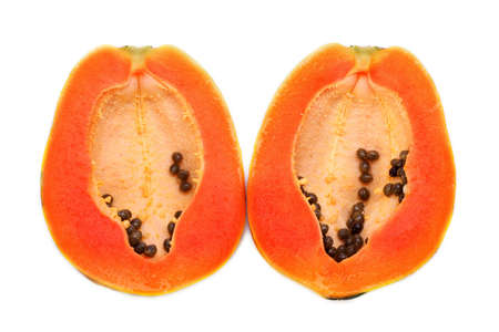 papaja in een witte achtergrond Stockfoto