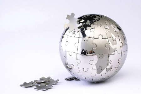 puzzle globe: Jigsaw globe puzzle on white