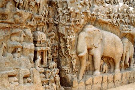 Arjuna's Boetedoening of Afdaling van de Ganges Bas-reliëf in Mahabalipuram, India Stockfoto
