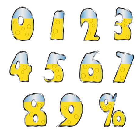 7 8: Icons blue and yellow numbers Illustration