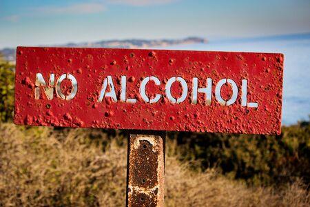 No Alcohol Sign Posted at El Matador State Beach, Malibu, California