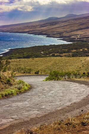 Breathtaking view of the coast from the winding Piilani Highway in Maui, Hawaii 스톡 콘텐츠