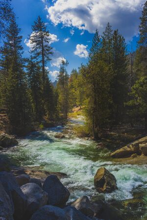 Winding Marble Fork Kaweah River flowing through the dense forest along the Tokopah Valley Trail, Sequoia National Park, California Stock Photo