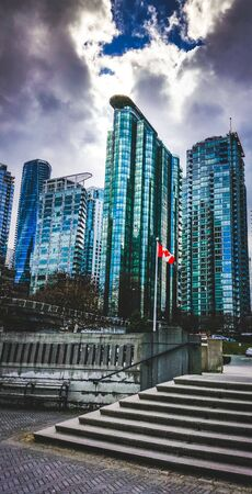 Vancouver highrises on a cloudy day near Coal Harbour