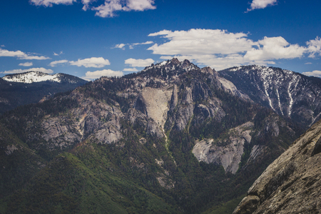 Castle Rocks (center) and Paradise Peak (right) in the Sierra Nevada Mountain Range, Sequoia National Park, California