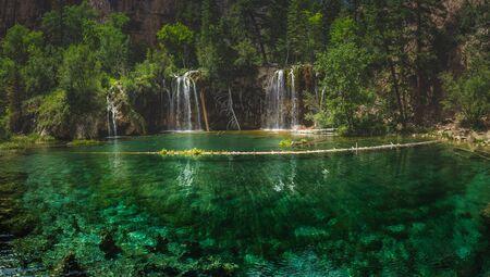 Serene Waterfalls and clear green water at Hanging Lake, Glenwood Canyon, Colorado
