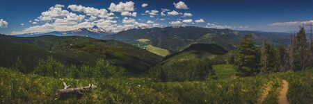 Beautiful view of Mount of the Holy Cross, a prominent mountain summit with an elevation of 14,009 feet in the northern Sawatch Range of the Rocky Mountains from Eagles Nest, Vail, Colorado