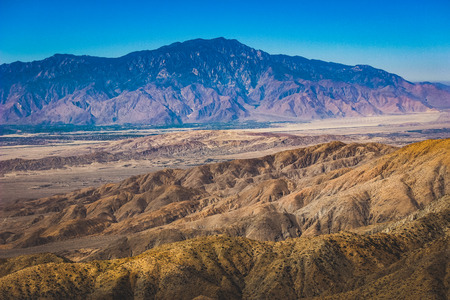 Beautiful overlook of San Bernardino Mountains and Coachella Valley from Joshua Tree's highest viewpoint, Keys View, Joshua Tree National Park, Riverside County, California Stock Photo