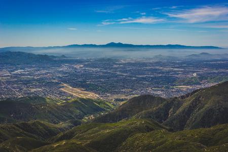 Breathtaking view of the San Bernardino Valley from the San Bernardino Mountains with Santa Ana Mountains visible in the distance, Rim of the World Scenic Byway, San Bernardino County, California