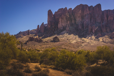 Scenic view of Superstition Mountains in Lost Dutchman State Park, Arizona from Treasure Loop Trail Stock Photo