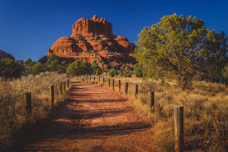 Beautiful Bell Rock red rock formation viewed from the Bell Rock Trail on a clear, sunny day in the Coconino National Forest, Arizona