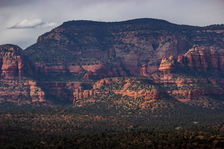 Beautiful view of Red Rock Secret Mountain Wilderness, sculpted with various red rock formations and steep cliffs, Sedona, Arizona