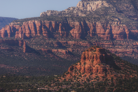 Sugarloaf Mountain in the foreground dwarfed by Capitol Butte (aka Thunder Mountain) in the background, Sedona, Arizona