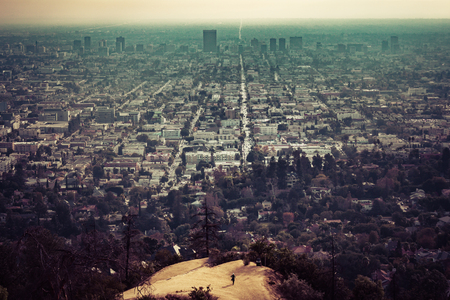 Elevated view of Los Angeles from hiking trail to the top of Griffith Observatory, Los Angeles, California