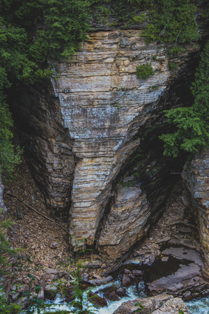 Sandstone rock formation shaped like an elephant's head seen at Ausable Chasm tourist attraction near Keeseville, New York, United States