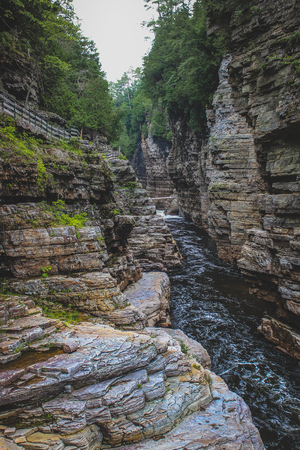 Beautiful, two-mile (3.2 km) sandstone gorge carved from the Ausable River which empties into Lake Champlain in the Adirondacks region of Upstate New York