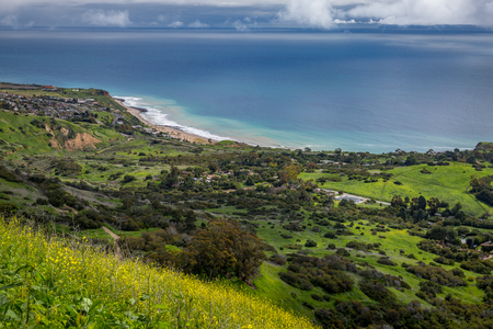 Colorful elevated view of Southern California coastline with green rolling hills and flowers in bloom, Del Cerro Park, Rancho Palos Verdes, California Фото со стока