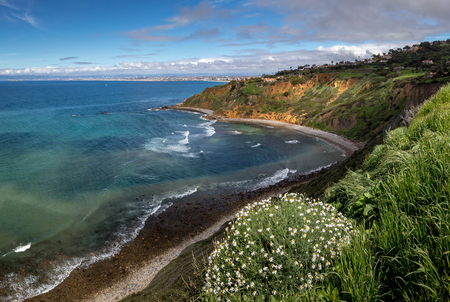 Vivid Southern California coastal view of tall, grass covered cliffs of Bluff Cove with blue and turquoise  water, Palos Verdes Estates, California