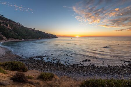 Beautiful sunset along the rugged Southern California coastline, Bluff Cove, Palos Verdes Estates, California