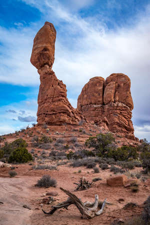 Popular Balanced Rock sandstone tower seen along Arches Scenic Drive near the Windows Section of Arches National Park, Moab, Utah