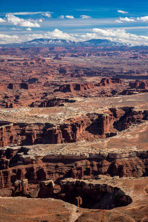 Elevated view of Monument Basin and White Rim from Grand View Point Overlook, Island in the Sky District, Canyonlands National Park, Moab, Utah