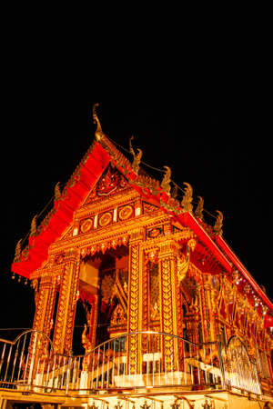 Night View of Thai Golden Temple photo