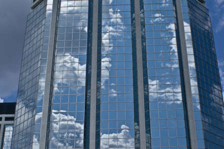 office building with cloud reflection medium shot