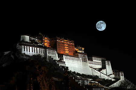mile high city: Potala Palace under the moonlight
