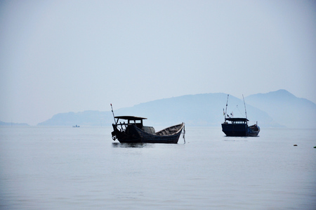 wade: Chinese Boat in xiapu sea Stock Photo