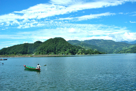 phewa: boat and phewa lake