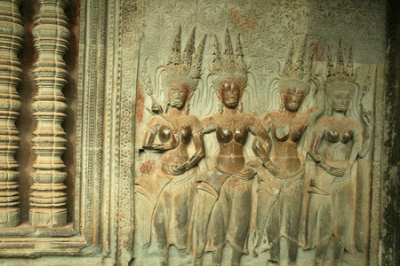 cambodian: Cambodian Angkor Wat   stone carving