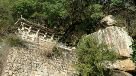 Temple building on a hill 免版税图像