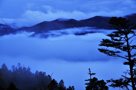 Misty clouds over the mountain 免版税图像
