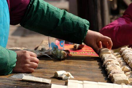 Tibetan preparing food