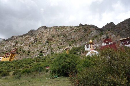 Temple buildings by the hill