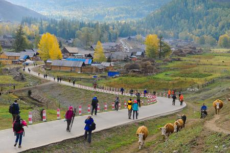 gully: Baihaba Village, Xinjiang Editorial
