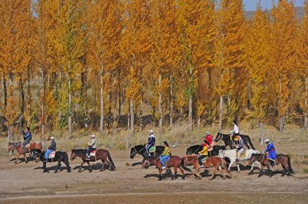 Tourists riding horses