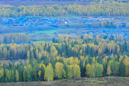Baihaba Village, Xinjiang Stock Photo